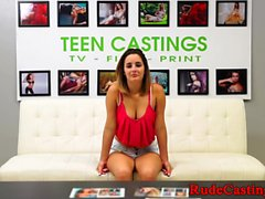 Casting teen with bigtits gets cum in mouth