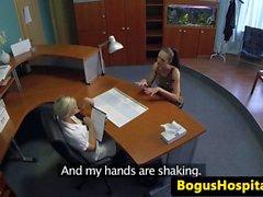 Euro nurse pussyfingering busy patient
