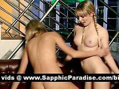 Schönes Blondine Lesbos lecken Pussy und mit Lesbensex