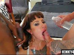 Brunette pornstar domination and facial