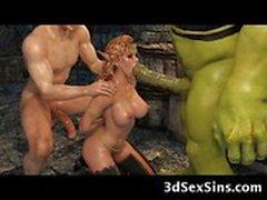 3D Menschenfresser bumst ein Elfen Prinzessin!