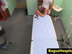 Creampied euro patient blowing docs dick
