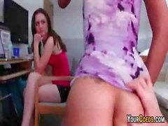College girl watches her roommate get screwed right next to her