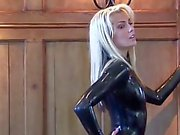 Natacha latex noir Sleeved Catsuit