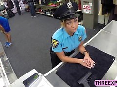 Brave Police woman strip in the pawnshop