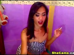 Slutty Ladyboy Grinds ile Cam üzerinde stripteases