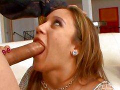 Blistering Lynn Love throat fucks a hard meat pole