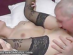 Horny grey old man loves licking a tight part3