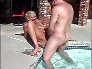 Poolside granny Anastasia Sands loves cock