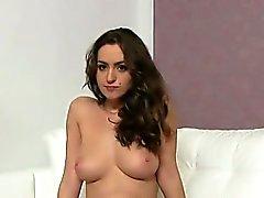 Big tits brunette gets breasts cumshot on casting
