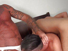 Ripped aged bear cocksucks in bareback 3some