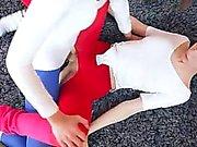 Hot lezzies in pantyhose enjoying strap