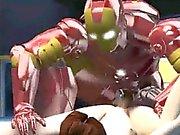 Sexy 3D brunette Babe immer von Iron Man fickte