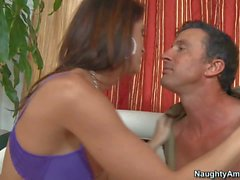 Heavy chested Jennifer Dark rides on Tony to loud orgasm