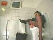 Office girl masturbation in the toilet