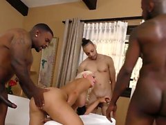 Group babe jizzed by bbcs