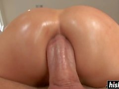 Oiled girl craves for a butt banging