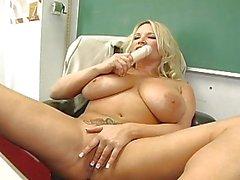 Mega breasted blonde teacher fingering her snatch