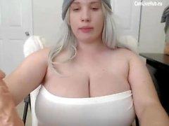 GIGANTIC BOOBS BBW TEEN CAM GIRL sucking a dildo pt1