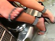 Outdoor hot lesbian scene with two hotties in lingerie