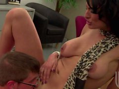 Exotic busty MILF Persia Pele gets screwed at the office