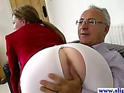 Young euro slut pussydrilled by old man