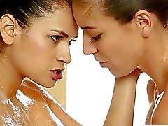 Nuru massage training leads into a lesbian strapon fucking