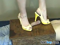Stepping On His Dick With High Heels On