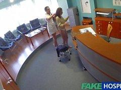 Lesbian nurse licks a hot patient on hidden cam