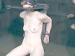 Head bonded skank in stocks being punished