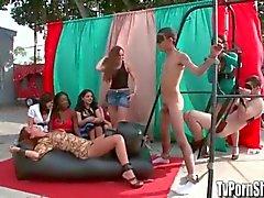Bizarre Coed Fetish Orgy in Public for TV Porn Show