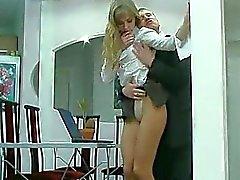 Русская блондинка колготках