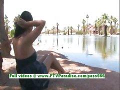 Alexa Loren busty brunette woman flashing tits and ass outdoor