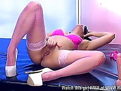 Chloe Lovette playing with dildo in stockings