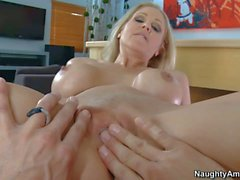 Beautiful blond MILF Julia Ann gets her pussy fucked deep