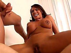 Busty brunette cougar Ariella Ferrera gets double fucked