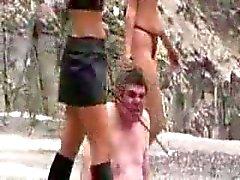 Femdom Cruella Torture in the prison quarry