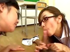 Slave Schoolgirl Sucking Schoolguy Cock With The Teacher Riding On The Guy In The Classroom