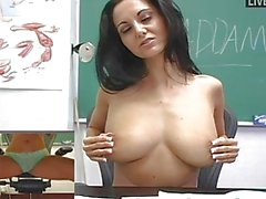 Cute and foxy brunette teacher strips and masturbates