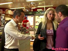 Threeway euro babe analized for shoplifting