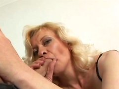 Hot granny in fishnets gets fucked