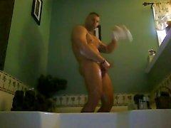 Str8 muskel bemannen im Bad zu spielen