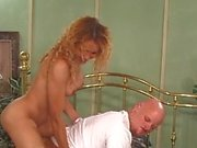 Manly stud and hot tranny suck each other's tools before she fucks him