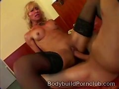 Gorgeous gym hottie gets pumped hard in doggy style