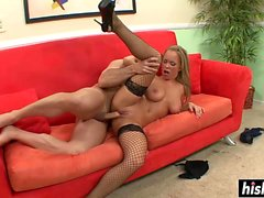 Jessica Moore in fishnet stockings gets bonked