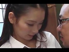 Horny japanese colledge student played with her teacher cock