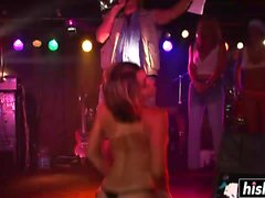 Cute girls strip while they dance