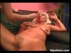 Mature blonde bitch and her young