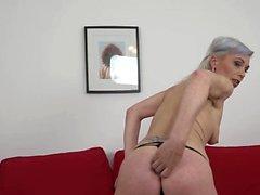 Amazing granny gets a black anal creampie