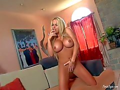 Blonde Bobbi Billard with huge hooters takes off her white panties